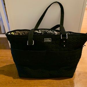Vera Bradley black quilted shoulder tote bag